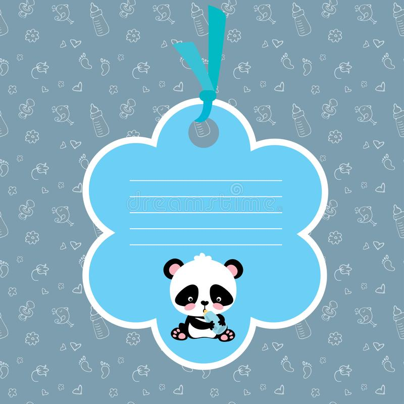 Baby boy arrival card or shower card with cute little panda royalty free illustration