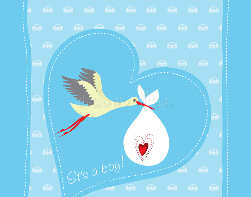 Baby boy arrival greeting card royalty free illustration