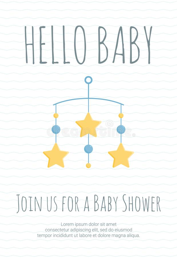 Baby boy arrival and shower invitation template with cot mobile with blue circles and yellow stars. stock illustration