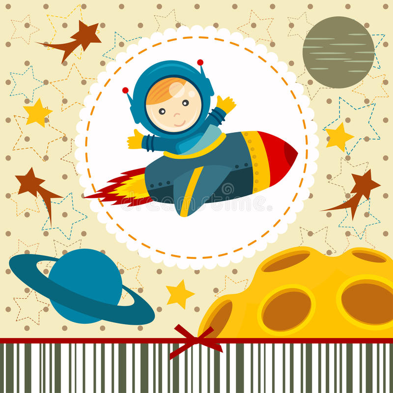 Baby boy astronaut royalty free illustration