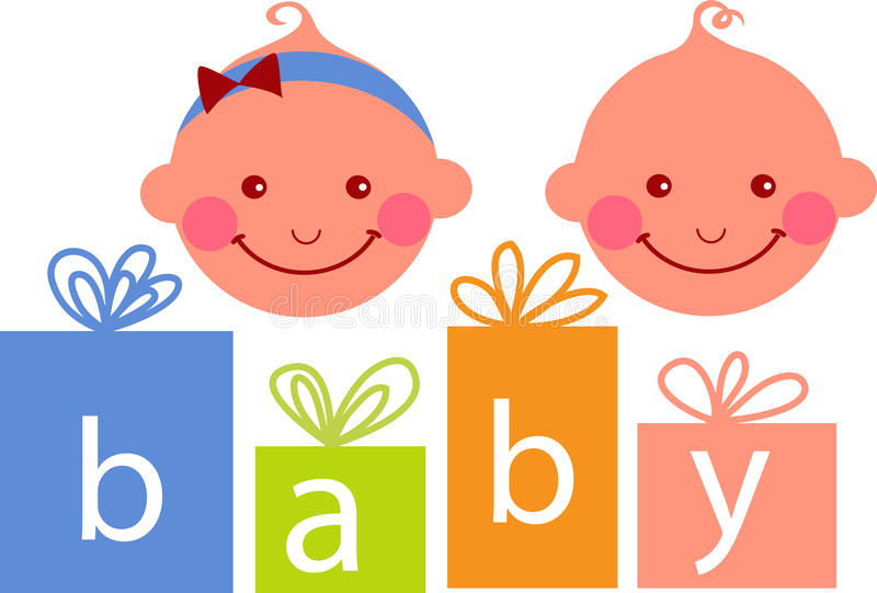 Baby boy and baby girl vector illustration