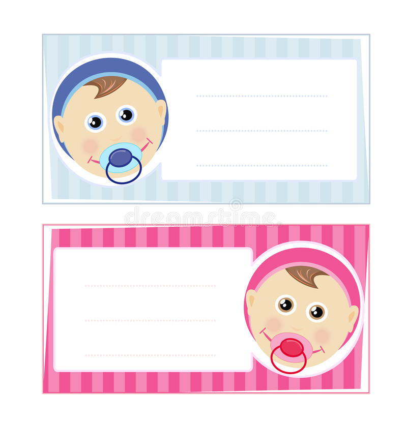 Baby boy and baby girl card design. Baby boy and baby girl cards isolated on white background with copy space for your text vector illustration