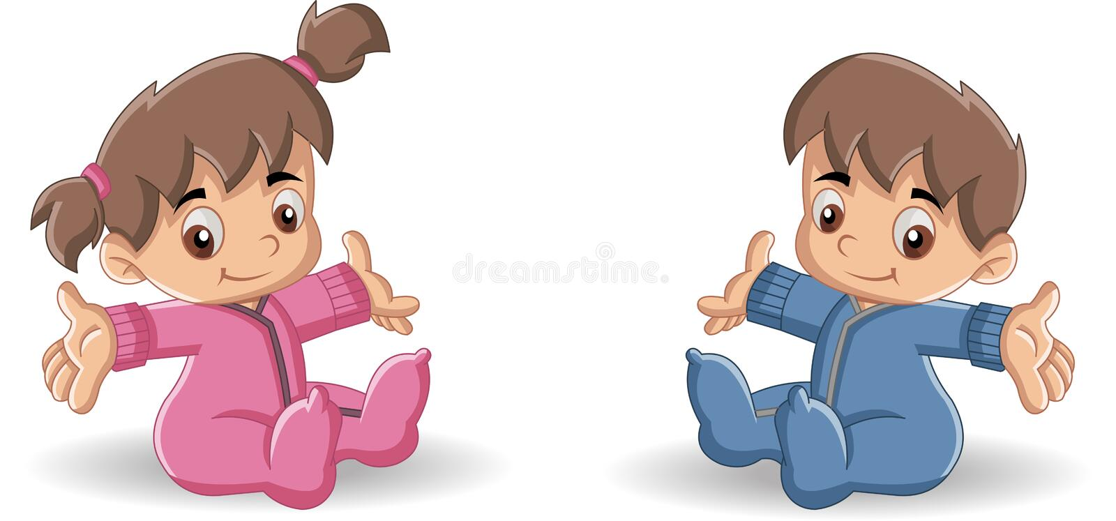 Baby boy and baby girl. stock illustration