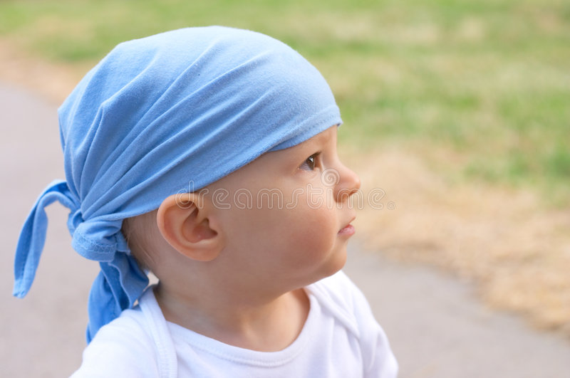 Download Baby boy in bandanna stock image. Image of blue, headscarf - 6870793