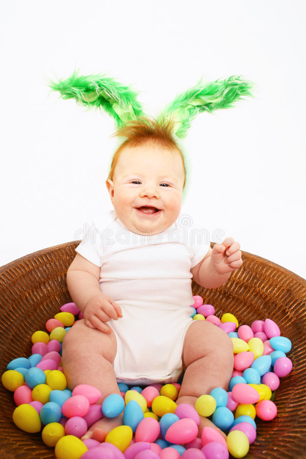 Baby Boy in basket for Easter stock photography
