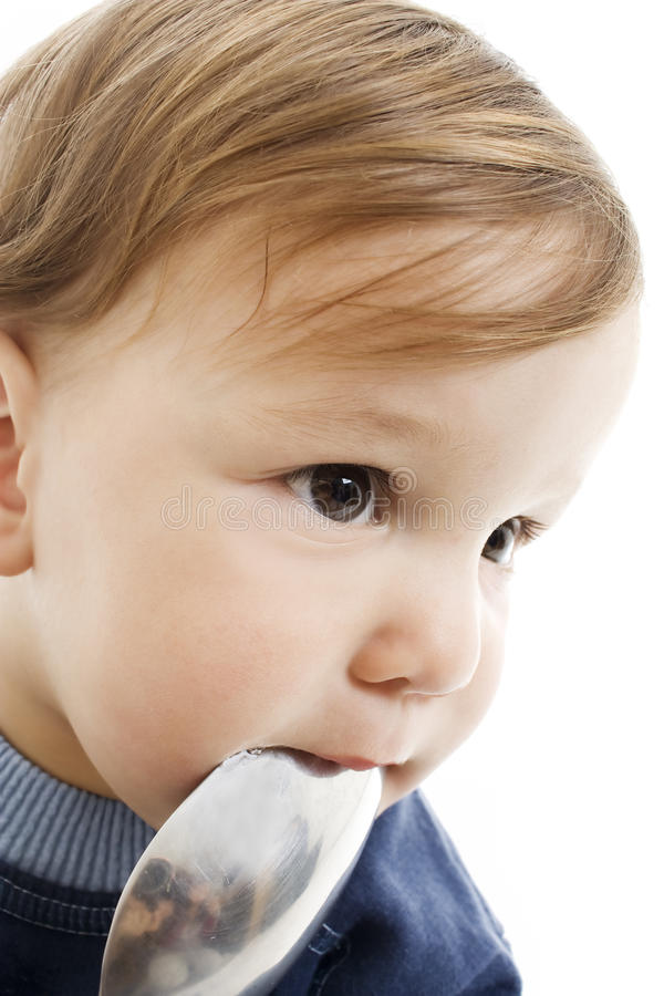 Download Baby boy with big spoon stock image. Image of cheerful - 14358157