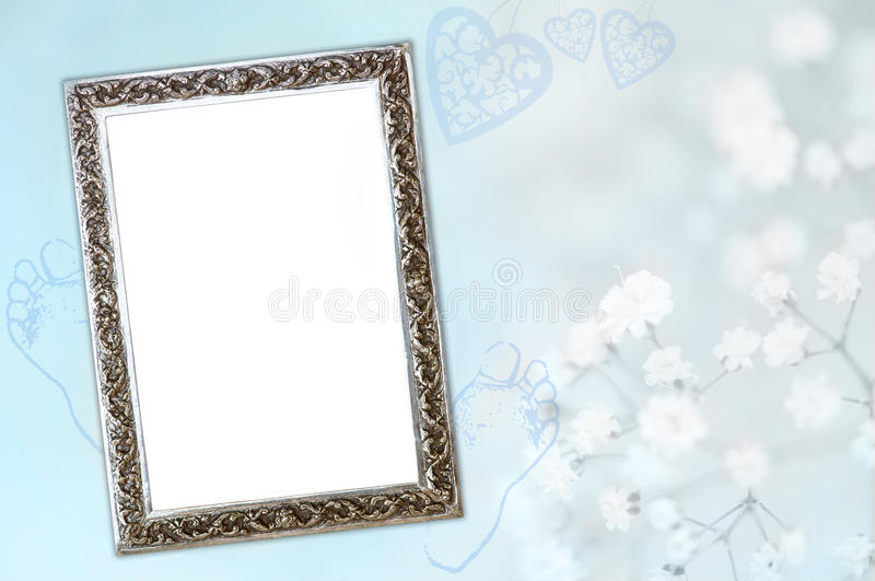 Baby boy birth card. Cute blue baby announcement card with silver frame to add your own baby picture and copy space to add new baby's name and birth details royalty free stock photography