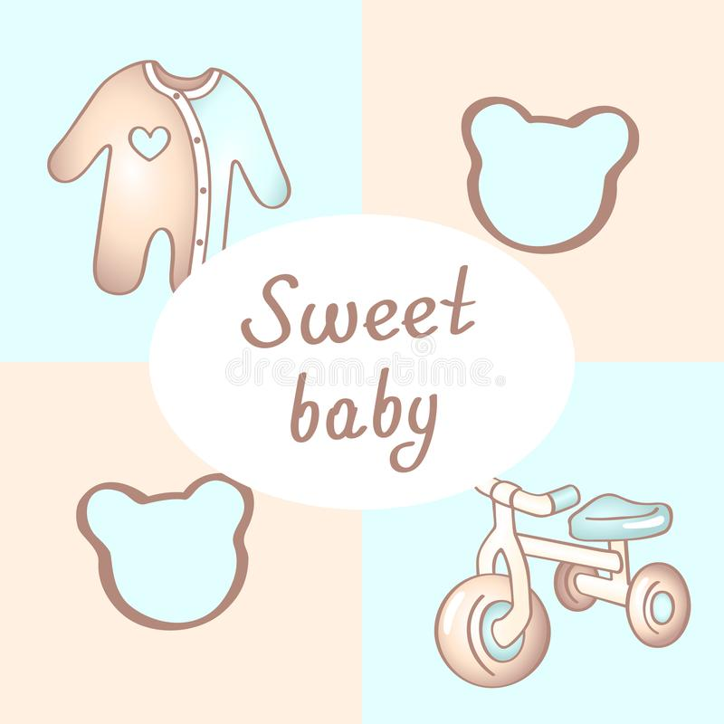 Baby boy birthday card, shower card, invitation card, greeting card, poster. Sweet baby boy. vector illustration