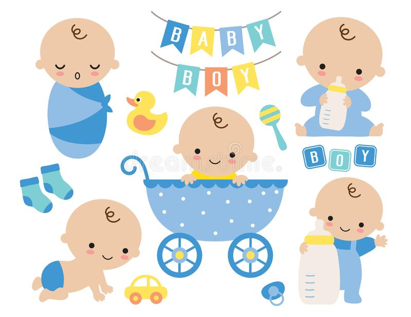 Cute Baby Boy in a Stroller and Baby Items royalty free illustration