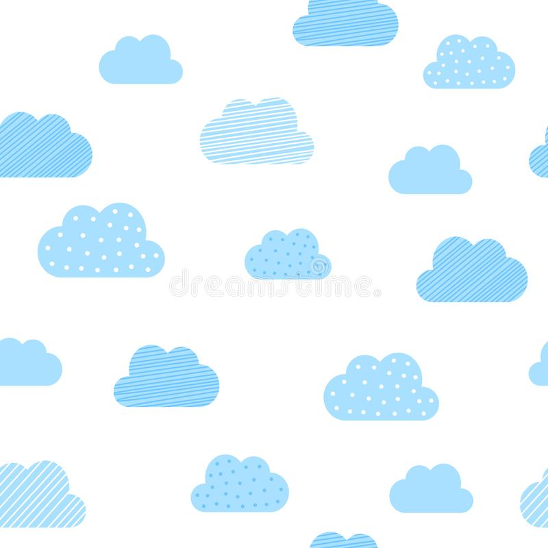 Baby boy blue clouds pattern background. Vector baby shower and birthday greeting card cloud seamless pattern stock illustration