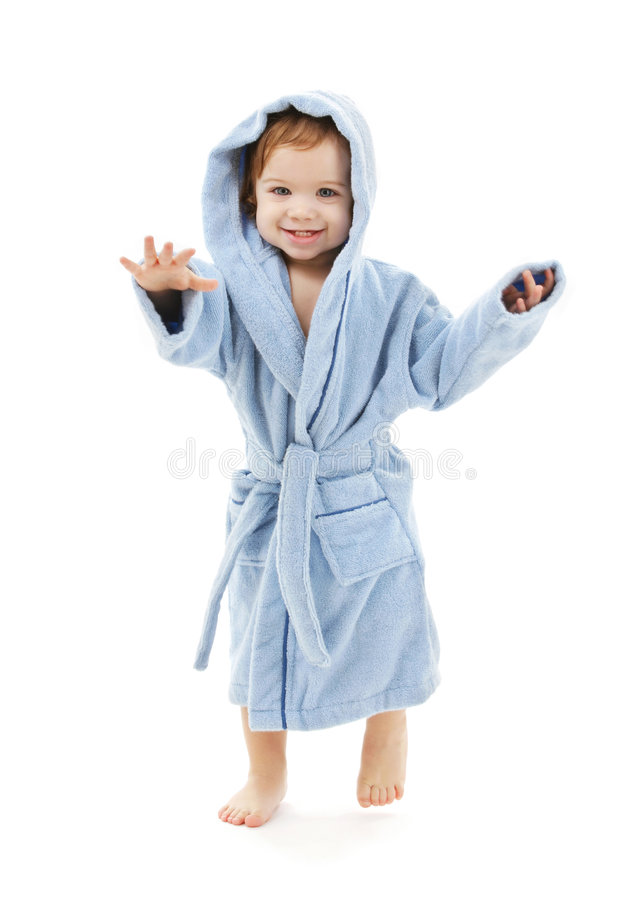 Baby boy in blue robe. Over white stock photo
