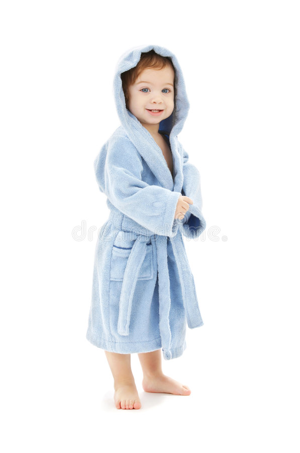 Baby boy in blue robe. Over white royalty free stock photography