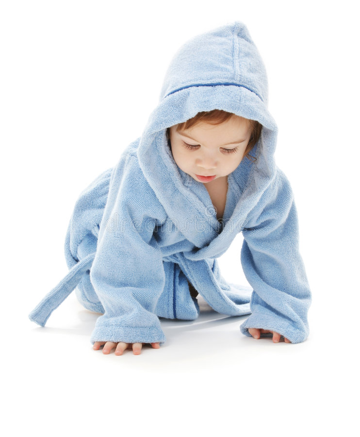 Baby boy in blue robe. Over white royalty free stock images