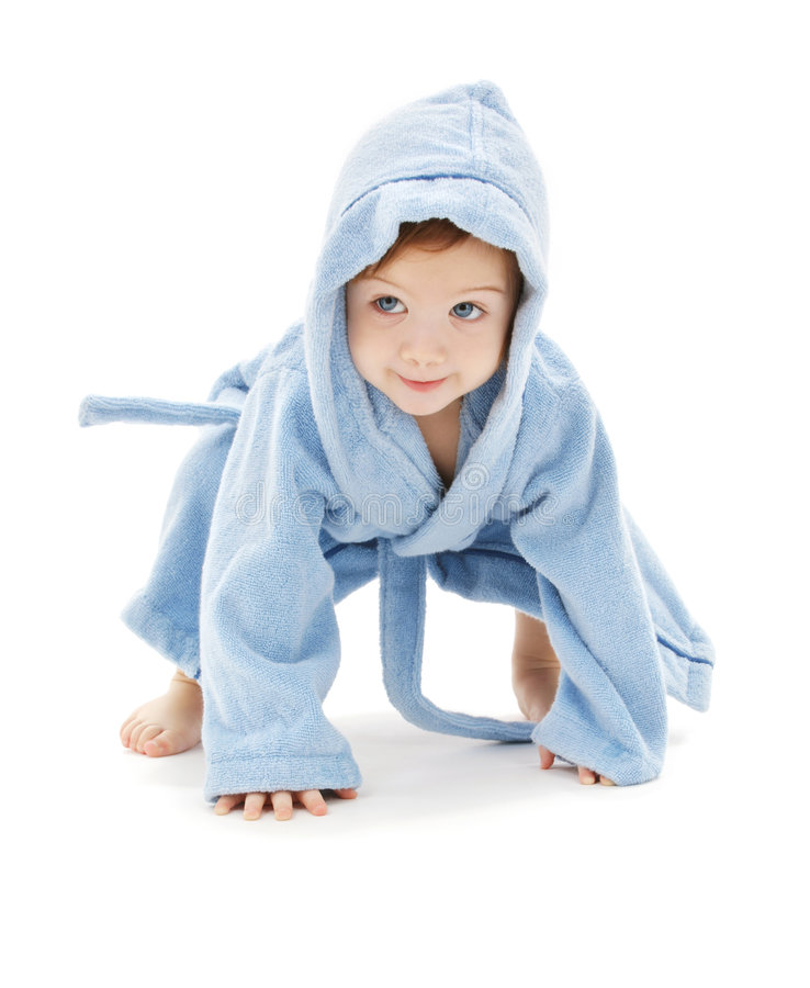 Baby boy in blue robe. Over white royalty free stock image