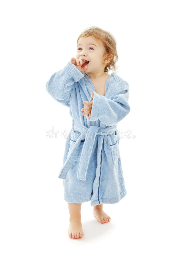 Download Baby boy in blue robe stock image. Image of isolated, male - 8343441