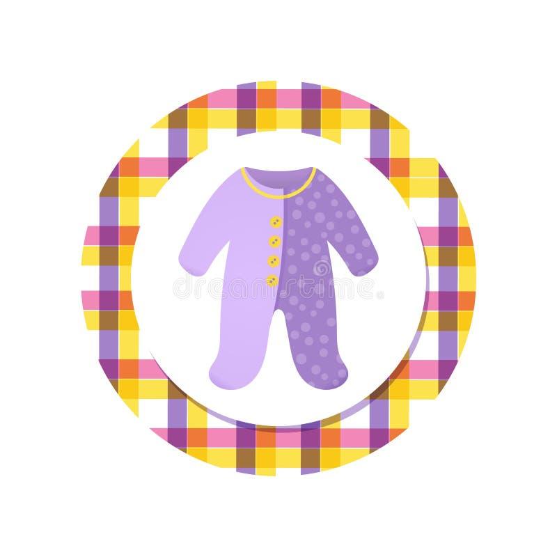 Baby boy bodysuit, romper for a newborn. Violet Baby boy bodysuit, cute romper for a newborn. Baby shower tag, sticker for shop advertising. Vector illustration vector illustration