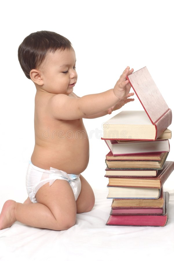 Baby Boy and Books royalty free stock photo