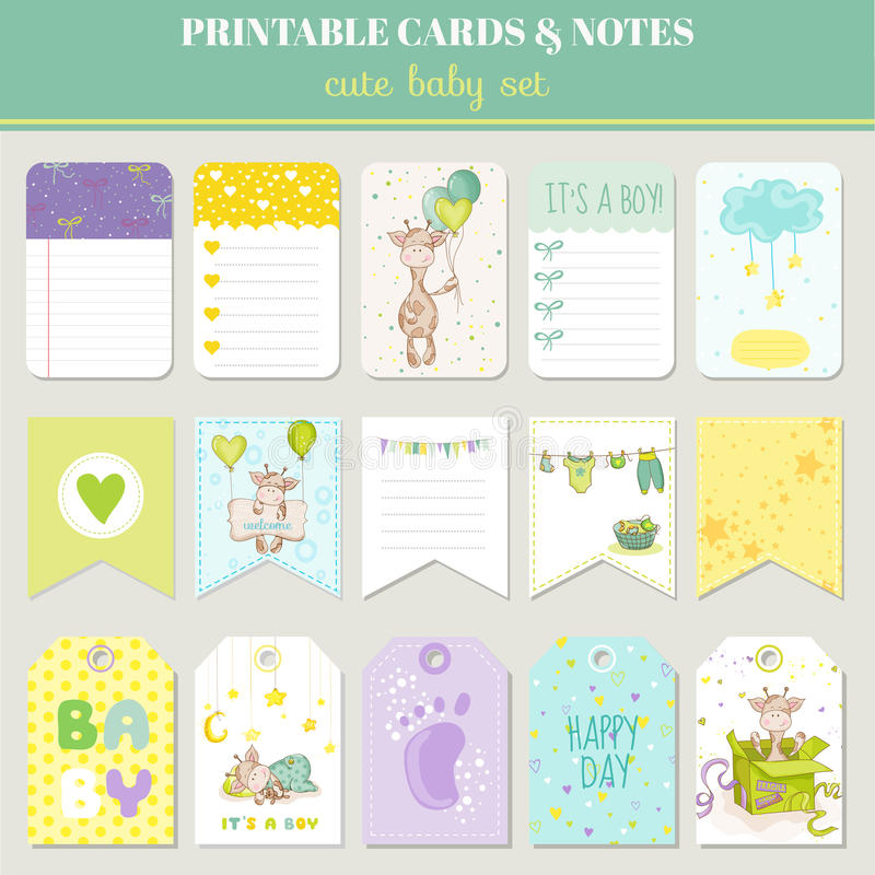 Baby Boy Card Set - with Cute Giraffe - for birthday. Baby shower, party, design - in vector royalty free illustration