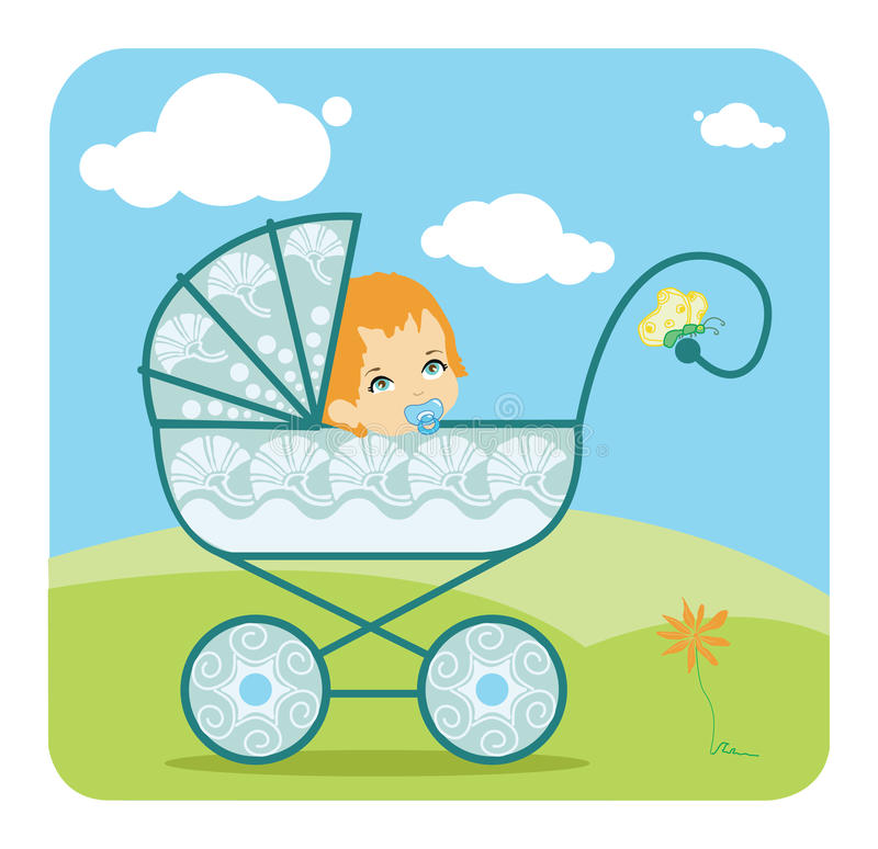 Baby Boy In Carriage Royalty Free Stock Image