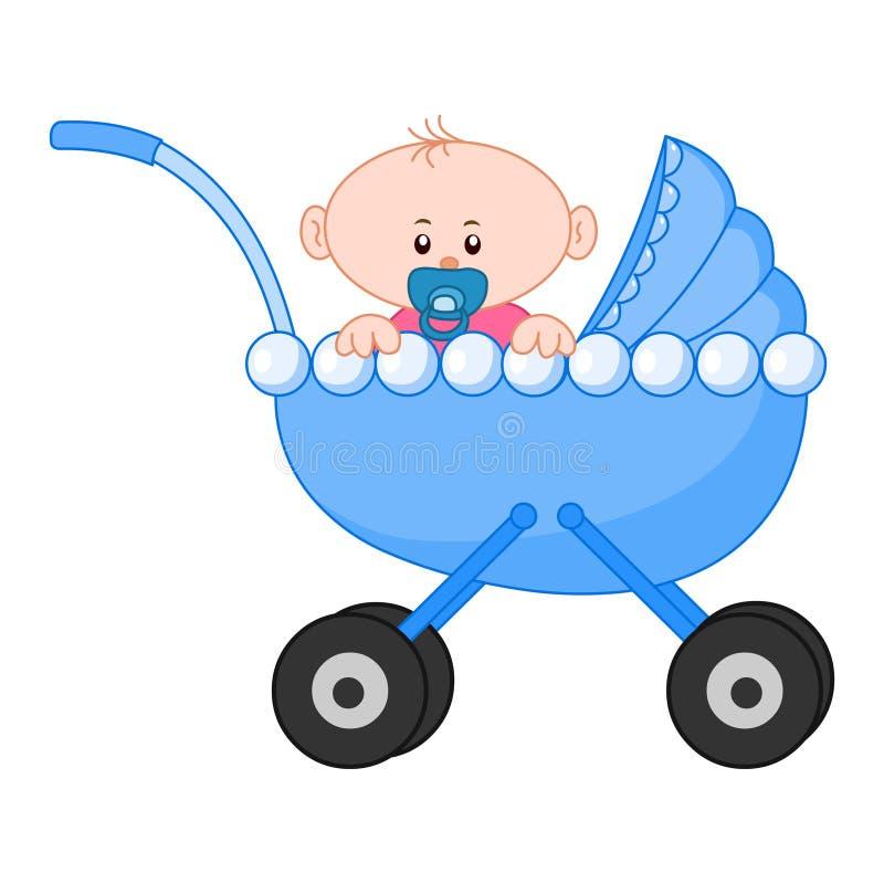 Baby boy.Cute baby boy sitting in a carriage vector illustartion vector illustration