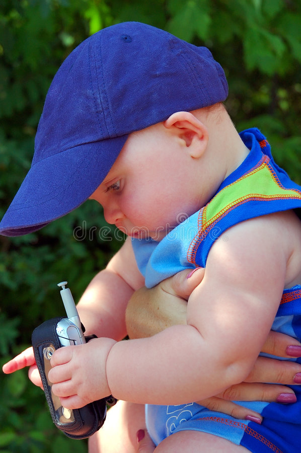 Baby Boy Cell Phone Royalty Free Stock Images