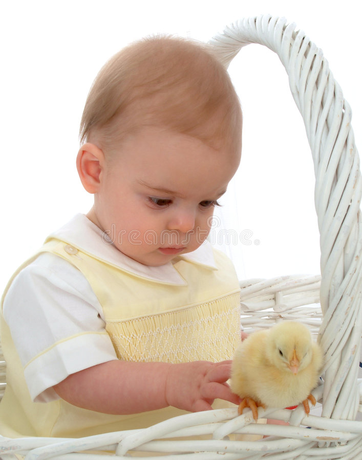 Baby And Bunny On Swing Stock Photo Image Of Interest