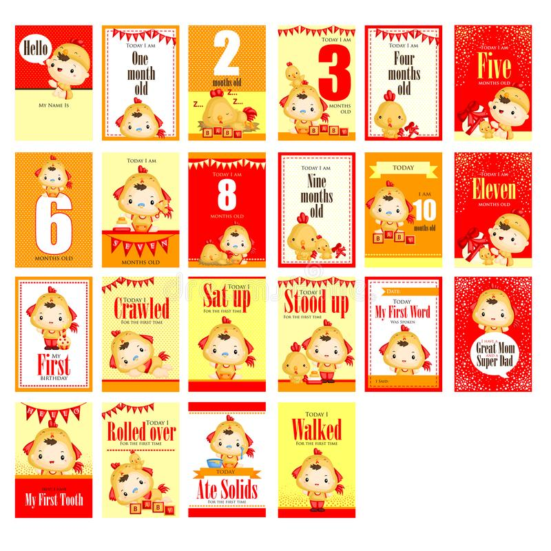 Baby boy with chicken costume milestone card royalty free illustration