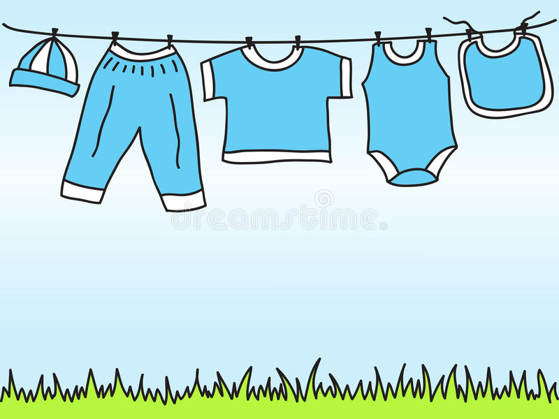 Baby boy clothes on clothesline - drawing. Baby boy clothes on clothesline - hand drawn illustration vector illustration