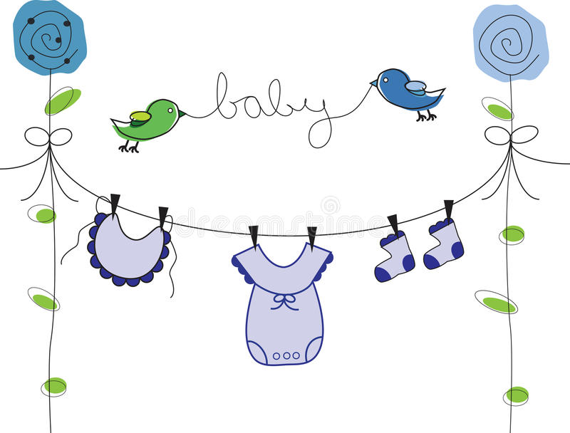 Baby Boy Clothes Line stock illustration