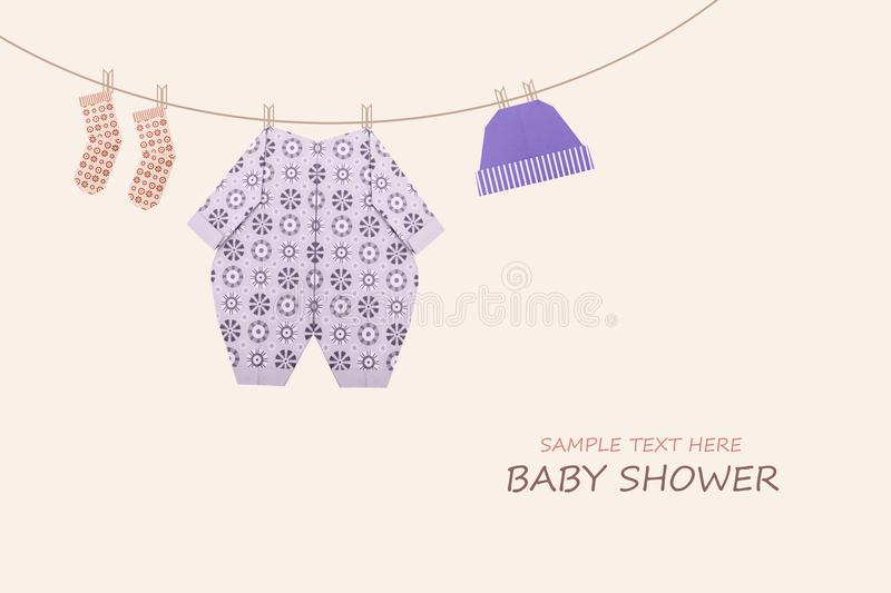Baby boy in sleepsuit origami. Baby boy clothing on clothesline on yellow background royalty free illustration