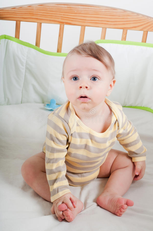Download Baby boy in cradle stock photo. Image of adorable, little - 33825508