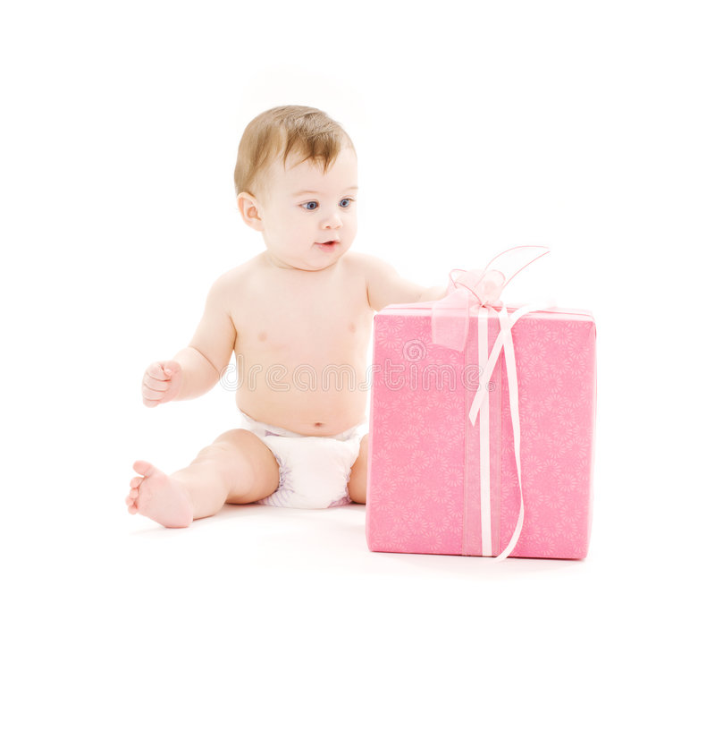 Baby Boy In Diaper With Big Gift Box Stock Photos