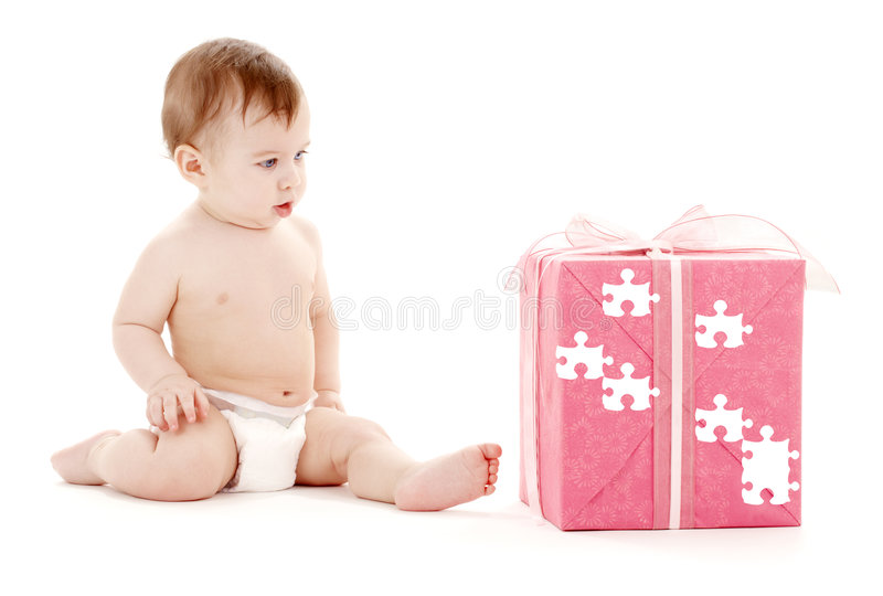Download Baby Boy In Diaper With Big Puzzle Gift Box Royalty Free Stock Photos - Image: 5942928