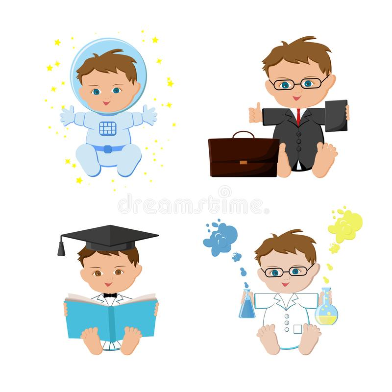 Baby boy dream jobs, professions set. Astronaut, businessmen, teacher, scientist kids. Flat design vector illustration isolated on white background vector illustration