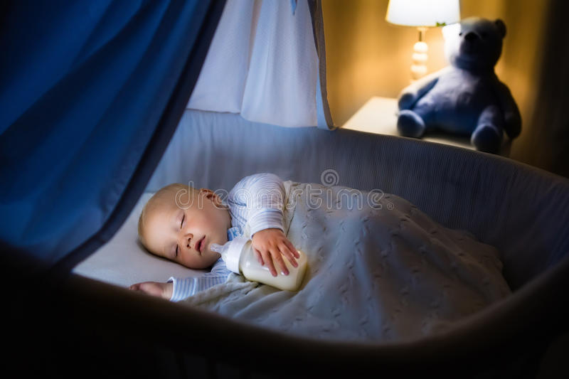 Download Baby Boy Drinking Milk In Bed Stock Photo - Image of bassinet canopy  sc 1 st  Dreamstime.com & Baby Boy Drinking Milk In Bed Stock Photo - Image of bassinet ...
