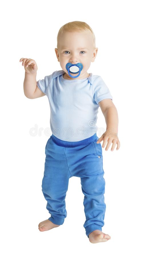 Baby Boy with Dummy full length portrait, Happy Kid Walking on White, Child One Year Old royalty free stock image