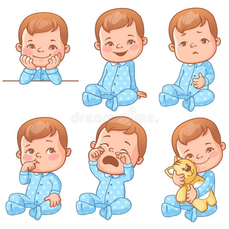 Baby boy emotions set vector illustration