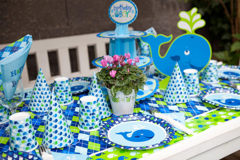 Baby Boy First Birthday Party Outdoor Table Set Stock Photo