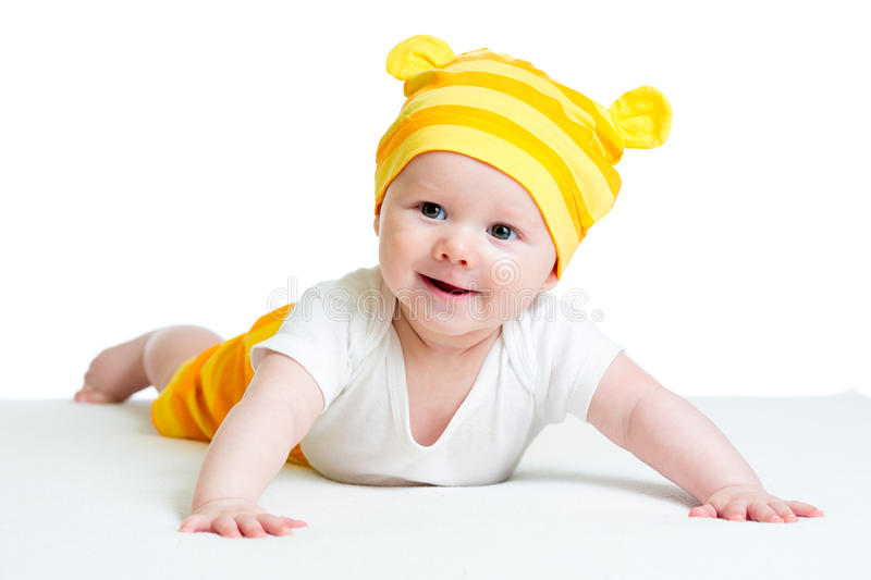 Baby boy in funny hat stock images