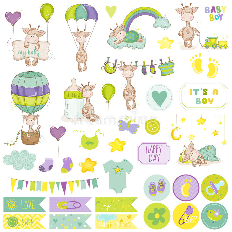 Baby Boy Giraffe Scrapbook Set. Vector Scrapbooking. Decorative Elements. Baby Tags. Baby Labels. Stickers. Notes stock illustration
