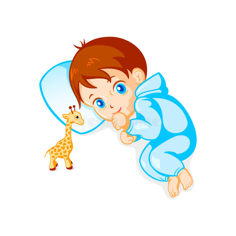 Baby boy and giraffe toy. Cute baby boy looking at giraffe toy royalty free illustration