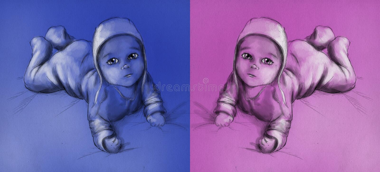 Baby - boy and girl. Cute baby lying on his (or her) tummy and looking up. Pencil drawing, sketch royalty free illustration