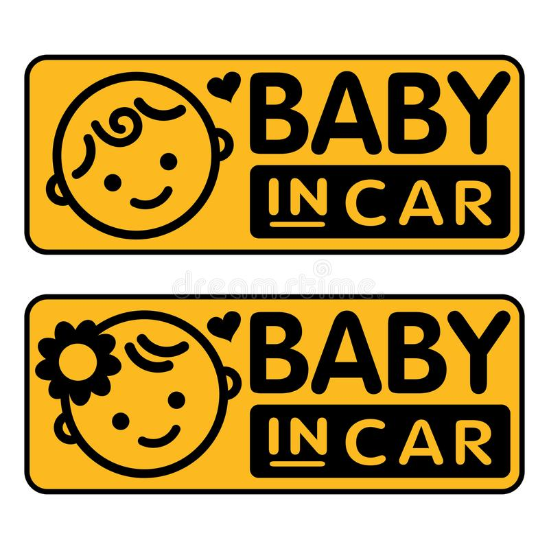 Baby boy and girl, baby in car sticker royalty free illustration