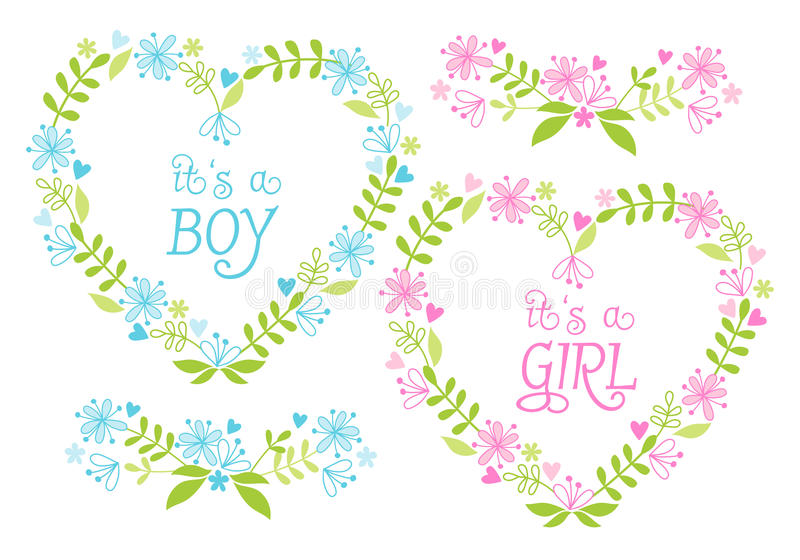 Baby Boy And Girl, Floral Hearts, Vector Royalty Free Stock Images