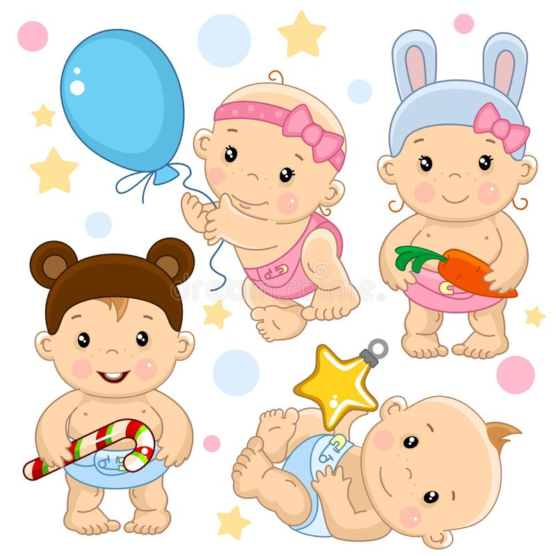 Baby boy and girl 3 part. A set of illustrations of icons with a baby girl and boy, girl flies on a balloon in a rabbit costume holding a carrot, a boy in a royalty free illustration