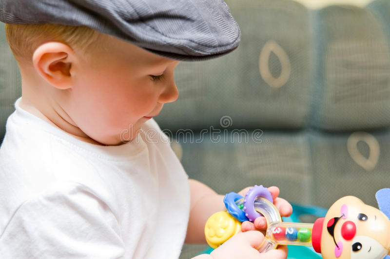 Download Baby boy in hat stock photo. Image of finger, playing - 15954290
