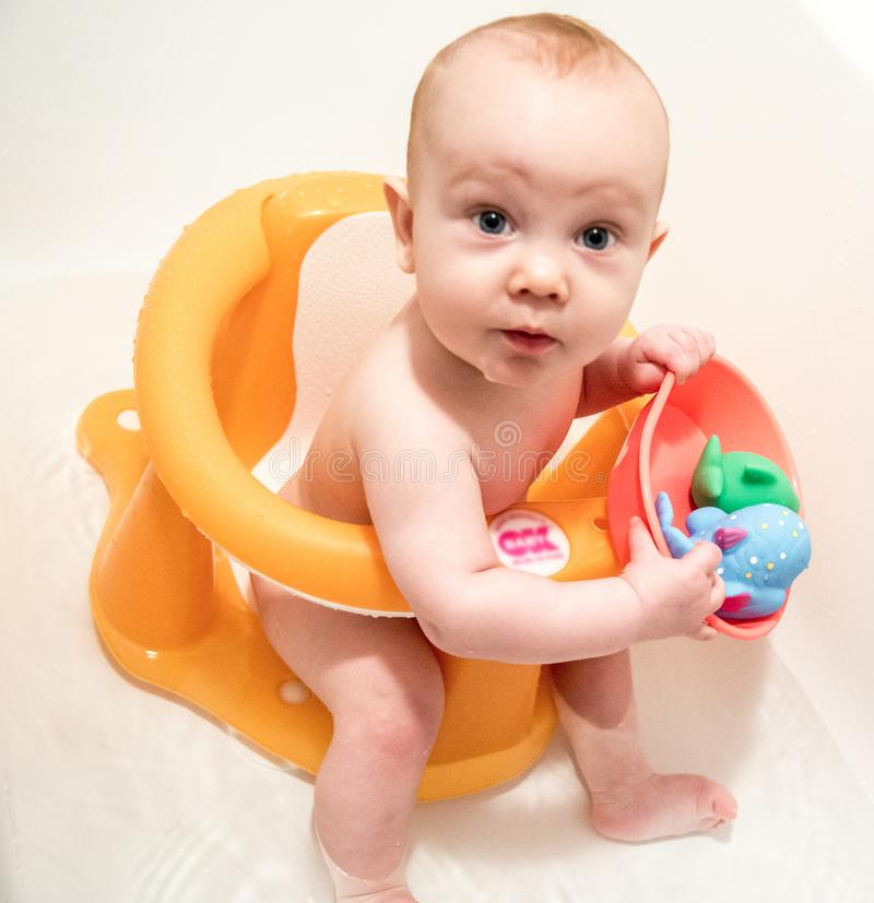 Baby boy having bath stock image. Image of small, toddler - 101167423