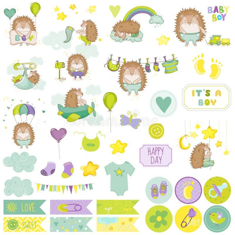 Baby Boy Hedgehog Scrapbook Set. Vector Scrapbooking. Decorative Elements vector illustration