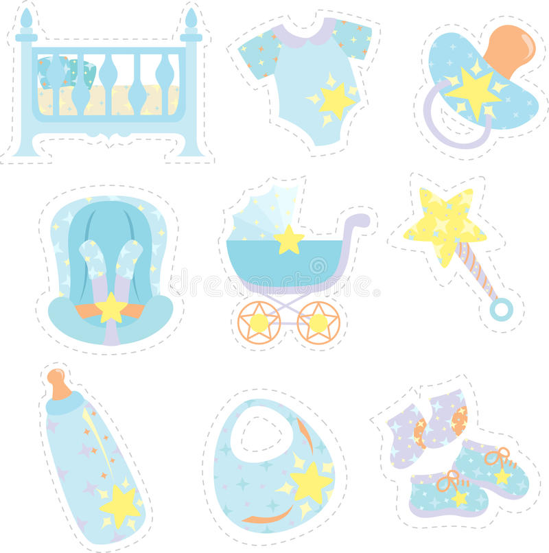Baby boy items icons stock illustration