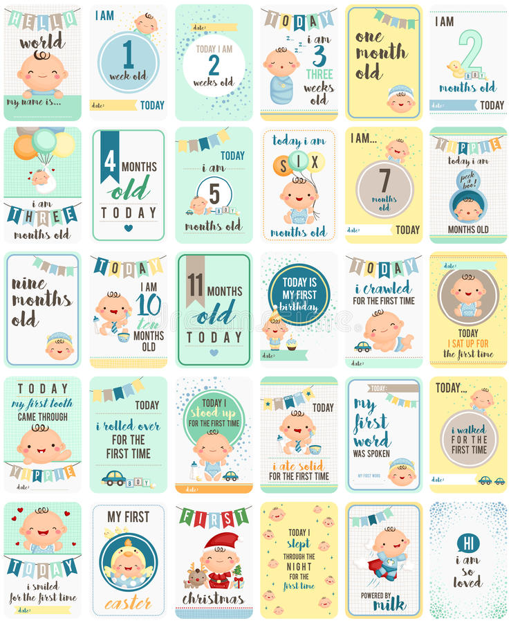 Free Baby Boy Milestone Cards Stock Images - 69552554